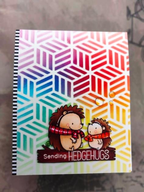 bharati nayudu MFT Hedgehogs copic colors rainbow stencil background handmade card 1