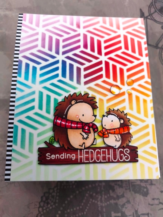 bharati nayudu MFT Hedgehogs copic colors rainbow stencil background handmade card 2