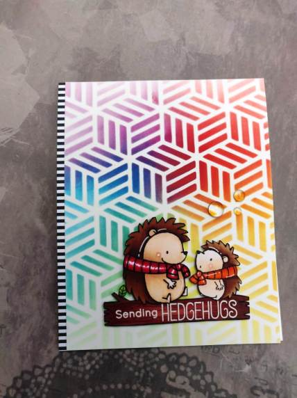 bharati nayudu MFT Hedgehogs copic colors rainbow stencil background handmade card 4.JPG