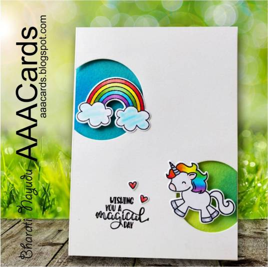 bharati nayudu Rainbow unicorn CAS Card with avery elle stamps for AAA Cards.jpg
