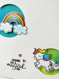bharati nayudu Rainbow2 unicorn CAS Card with avery elle stamps for AAA Cards.jpg